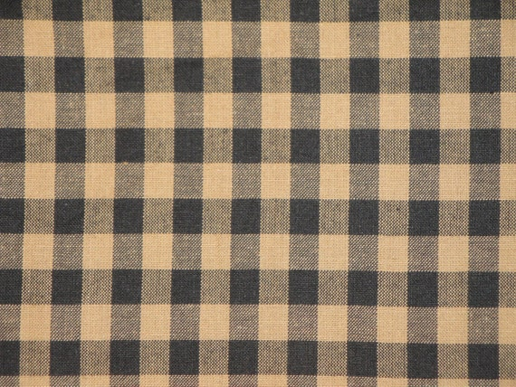 Homespun Large Black Check Cotton Fabric 31 x 44