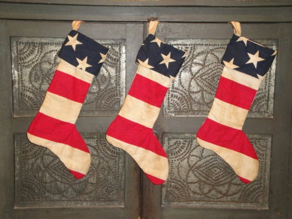 Americana Stocking  - Old Glory  -  Red White And Blue