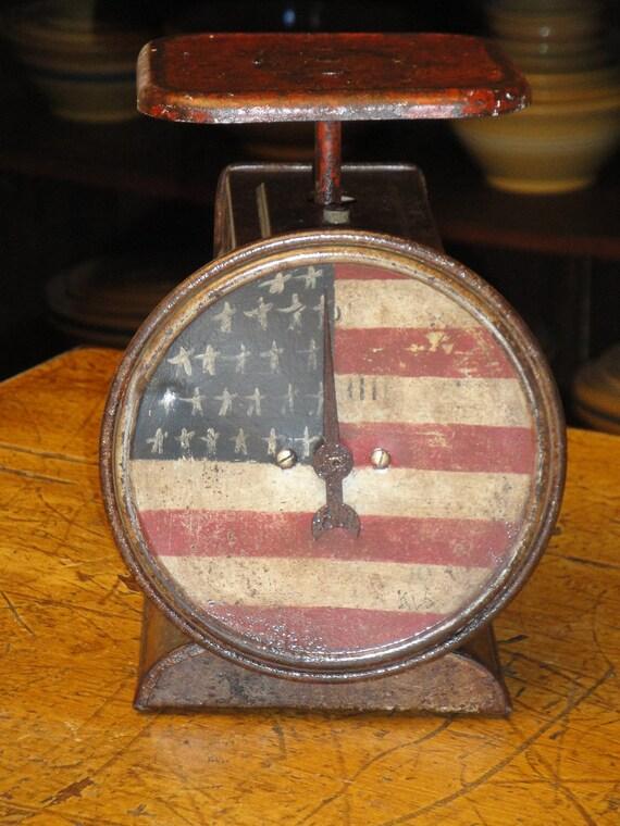 Vintage Kitchen Scale Handpainted Americana