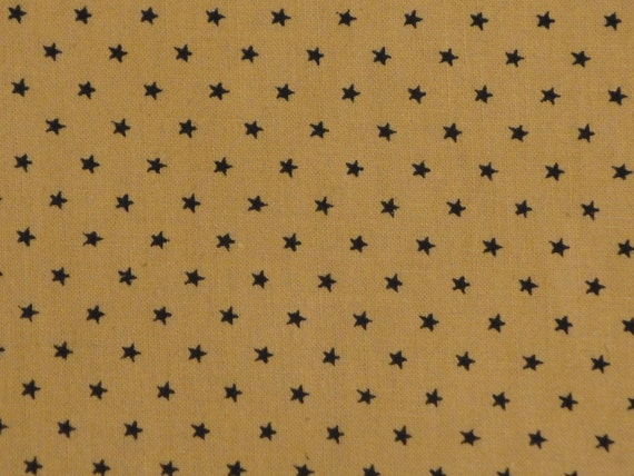 RESERVED Cotton Calico Fabric Black Star 66 x 44