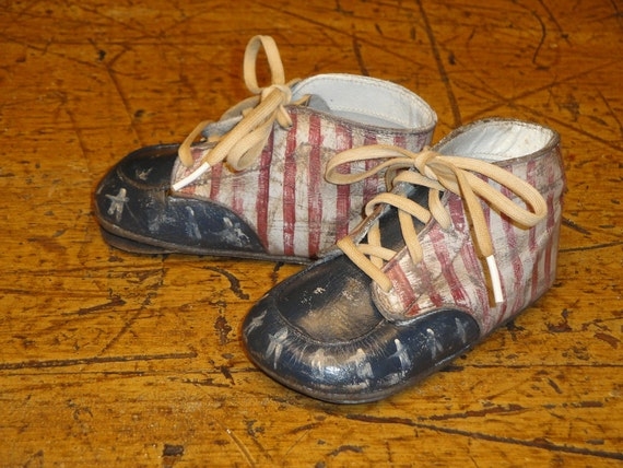 Primitive Handpainted Americana Soft Sole Baby Shoes
