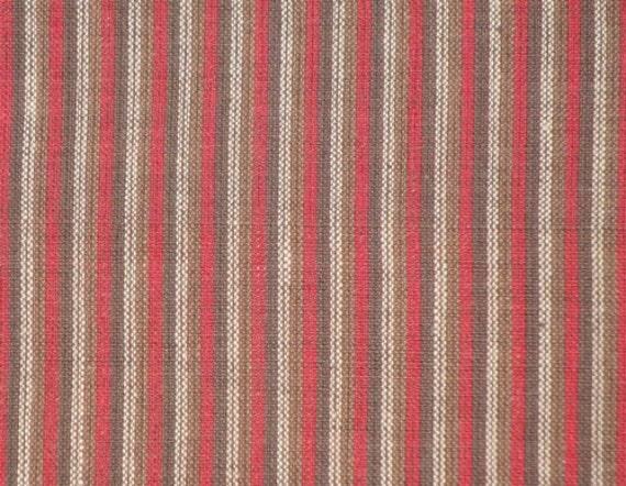 RESERVED Homespun Ticking  Fabric Red, Dark Brown, Light Brown and Natural 1 Yard