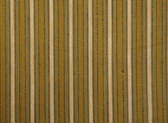 RESERVED Homespun Cotton Fabric Harvest Ticking Stripe 2 Yards