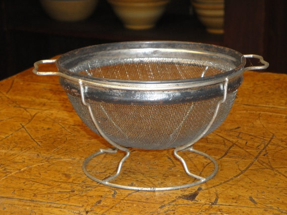 Vintage Screen Colander Strainer Footed With Handles
