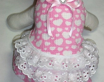 Dog Dress Pink Hearts with Lace To Order