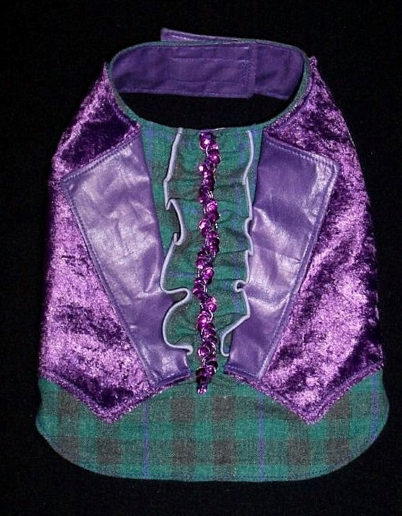 Pet Clothing Gentlemen's Vest to Order Size XSmall Velvet and Embellished