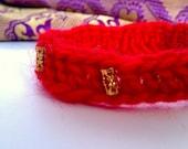 moroccan crochet bracelet in red
