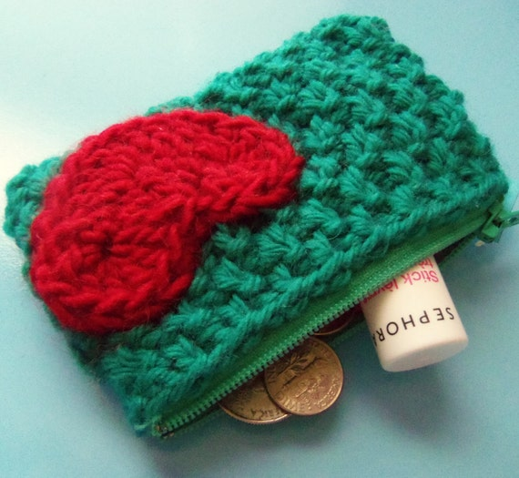 teal & red sweetheart change purse - handknit textured woven-look lined zipper coin pouch with crochet heart applique