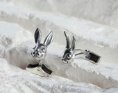 Custom order for Ben...Rabbit Cufflinks and Necklace in Solid Silver, Groom Cufflinks, Silver Cufflinks -