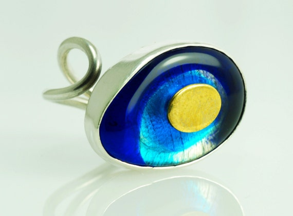 Blue Eye Lampwork Silver Ring