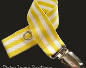 Yellow and White Stripe Pacifier Clip, Binky Holder