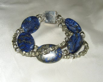 Lapis Pyrite Sterling Bracelet