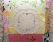 Cosy Patchwork Cushion with pretty linen stitchery