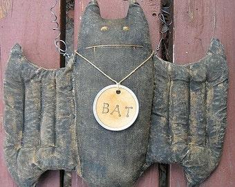 Bella Bat EPATTERN - primitive halloween fall autumn bat cloth doll craft digital download sewing pattern - 1.99 - PDF