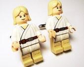 Full body Luke Skywalker LEGO silver toned cufflinks in FREE gift box