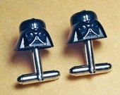 Darth Vader Cuff Links, silver toned cufflinks, Star Wars, made with LEGO (R) Bricks