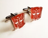 Transformers Autobots laser engraved on silver mirror acrylic on silver cufflinks comes in FREE gift box