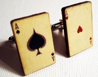 Cufflinks, Poker, Ace of Spades and Ace of Hearts vintage style playing cards on silver cufflinks in gift box