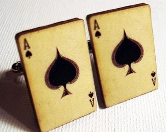 Cufflinks, Poker, Ace of spades vintage style playing card silver cufflinks in FREE gift box