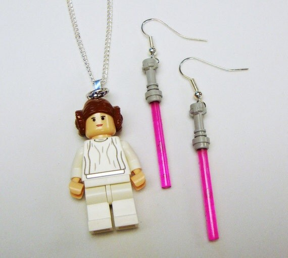 Star Wars LEGO Princess Leia minifig necklace and pink light saber earrings in FREE gift box