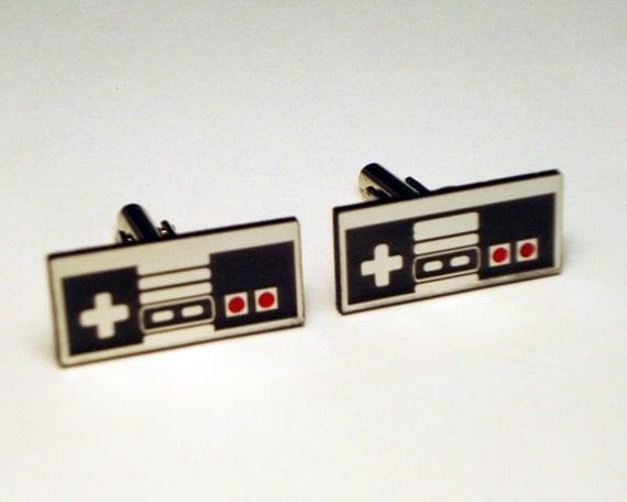 Groom Cufflinks, Wedding, Nintendo style video game controller silver cuff links in simple box, groom, wedding