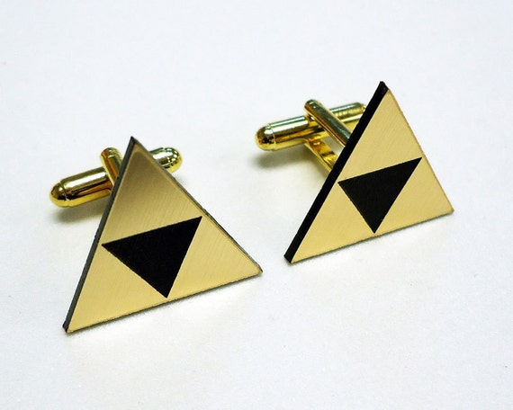Grooms gift, Wedding, Tri force Zelda gold cuff links in gift box, groom, wedding