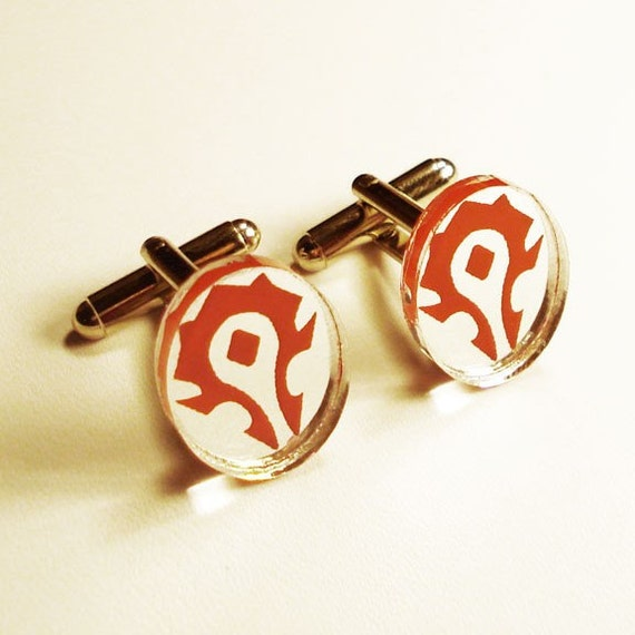 World of Warcraft Horde Insignia silver cuff links in FREE gift box