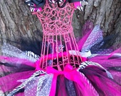 WiLd Complete Outfit Satin Wrapped Tutu and Hairbow Set Hot Pink Zebra