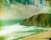 Landscape photography, Pacifica green california photo ocean waves surfing blue green sea view home decor by bomobob