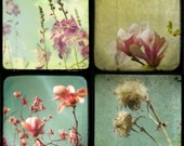 Art collection Flower photos feminine metallic photo olive green honeysuckle pink spring girly Set of 4 5x5 Metal Photos Softness
