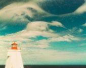 Lighthouse photography teal art nautical art seashore photo ocean print horizon seascape beach east coast - Beacon 8x12