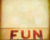 Carnival photography, abstract photography, seaside arcade, harvest gold, red letter, funhouse, beach, Maine, modern home decor