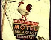 Kitchen art yellow art print chicken print kitchen decor vintage sign photo motel  restaurant whimsical mid century Martha's 8x8