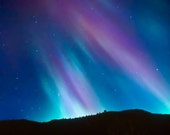 Northern lights, starry sky, night, zodiac ,winter photo, constellations, aurora borealis, purple ,blue, azure, indigo, dream