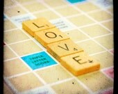 CLEARANCE Whimsical romantic photo art print love scrabble tiles I love you word game letters crossword puzzle Love is the Word 10x10