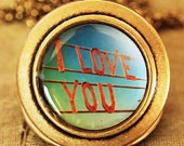 SALE - Whimsical gift, photo locket, marry me, anniversary gift, photo pendant, art locket, Romantic gift - I Love You - Photo Locket