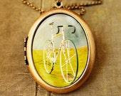 SALE - Bicycle photography tour de france mustard yellow for bikers - Le Tour - Fine Art Photo Locket Necklace - Grande Edition
