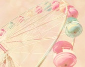 Children's decor, carnival photo, kid's room art, nursery decor, pastel pink, baby girl, baby blue, circus, ferris wheel