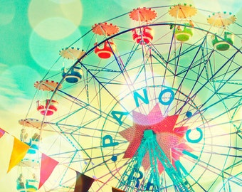 Carnival photography, nursery art, children's room decor, Barcelona, ferris wheel, wall art, baby, circus photograph, pastel, carnival art