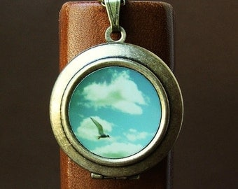 SALE - Photo locket Photo Art Locket Necklace seagull ocean seaside summer blue sky clouds bomobob The Sky Went on Forever