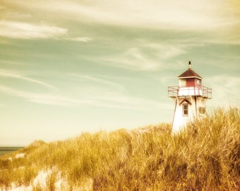 Landscape photography, pastel, spring, home decorating, beach photography, pastel colors, lighthouse, fresh mint green, seafoam, ocean