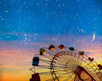 Ferris wheel photography fairytale Moon and stars photograph dark blue zodiac ferris wheel, sunset, orange, dusk, space