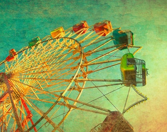 Ferris wheel photo green art for babys room CLEARANCE SALE  ferris wheel circus photo nursery decor carnival print  wall art