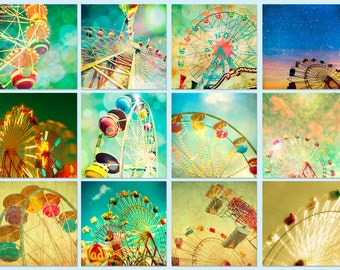 Circus photos, carnival photography, new baby, fall fair, child's room summer, nursery, baby, green, blue  - Wheels 12 5x5 prints
