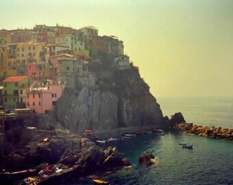 Italy photography Cinque Terre Manarola seaside Europe Italian Riviera pale green pastel - Cinque Terre 8x12