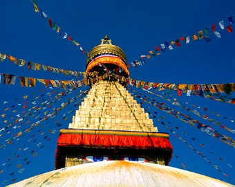 Prayer flags cobalt blue sky meditation room Buddhist temple Nepal Asia Kathmandu red orange yellow  - Stupa 8x12