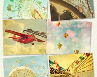 Nursery decor carnival photography wall art for child's room baby room kids carousel ferris wheel - Set of 6 8x10 prints Ready for Summer