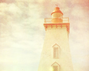 Lighthouse print nautical decor ocean photo cloud photography red PEI pastel summer photography fine art by bomobob