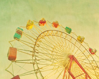 Ferris wheel print nursery art whimsical art pastel colors yellow summer carnival 5x7 fine art photo