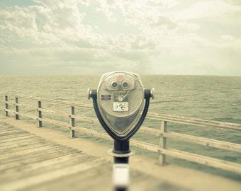 Ocean photography atlantic coast home decor summer pastels seaside viewfinder,  cottage summer binoculars beige - Out to Sea 8x10